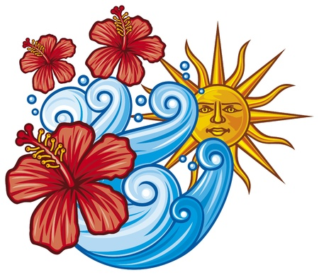 beautiful red hibiscus flower, sea wave and sun Vector