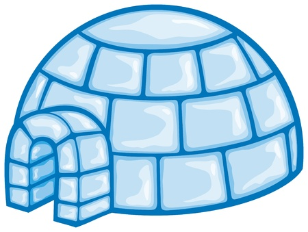 illustration of a igloo  cartoon vector illustration of a igloo, vector icon igloo, white snow igloo, igloo illustration  Vector