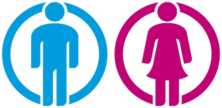 man   woman restroom sign  silhouettes of man and woman, boy girl button, wc icon, men and women toilet sign, icon male and female, man   woman icon, man and women WC sign, toilet symbol Stock Vector - 18076461