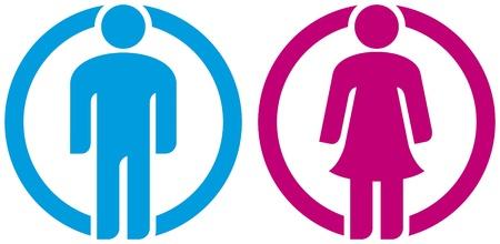 uomo donna toilette segno sagome di uomo e donna, pulsante ragazza ragazzo, wc icona, uomini e donne in segno di servizi igienici, icona maschile e femminile, icona donna e uomo, uomo e donna WC segno, simbolo WC Archivio Fotografico - 18076461