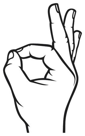 gestos: Humanos mano bien s�mbolo Aceptar mano Vectores