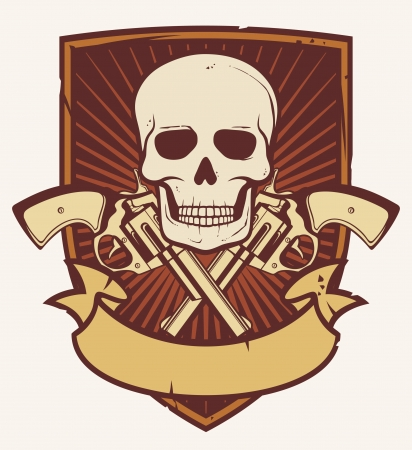 handgun: skull and two crossed revolvers  tattoo skull and gun, gun skull, skull with crossed bones, skull badge, skull emblem  Illustration