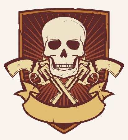 gangster with gun: skull and two crossed revolvers  tattoo skull and gun, gun skull, skull with crossed bones, skull badge, skull emblem  Illustration