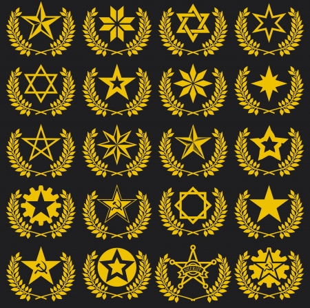 set of stars and laurel wreath Vector