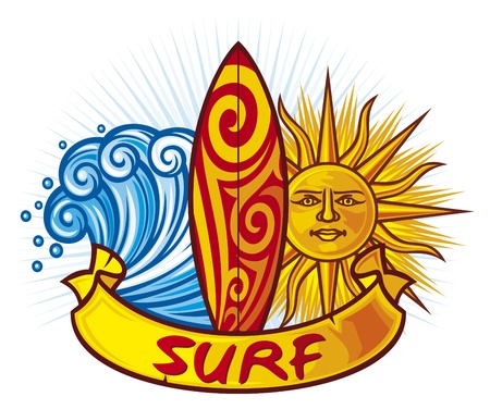 surf board: surf design  surf board illustration, surfboard symbol, surfboard label, surf sign  Illustration