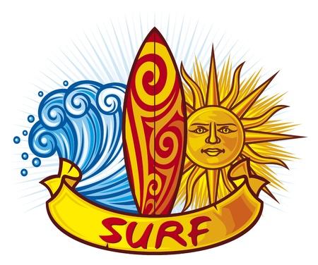 wave surfing: surf design  surf board illustration, surfboard symbol, surfboard label, surf sign  Illustration