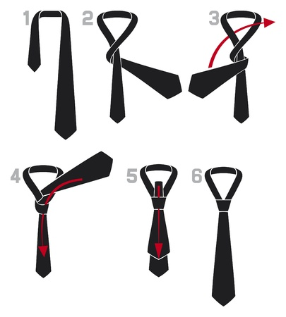 tie and knot instructions  the four in hand knot, Instructions how to tie a simple four in hand tie knot, four-in-hand knot, tie knot  Vector