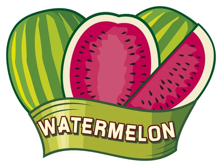 watermelon label design Stock Vector - 18076598