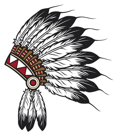 chief: native american indian chief headdress (indian chief mascot, indian tribal headdress, indian headdress)