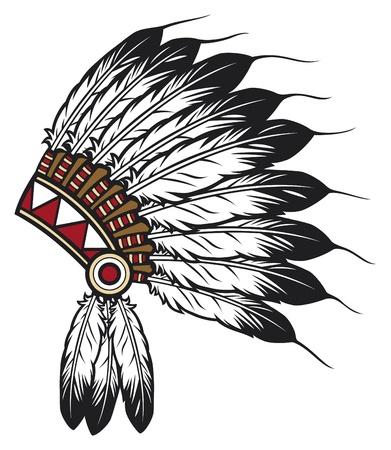 Native American Indian chief hoofdtooi (indian chief mascotte, Indisch tribale hoofdtooi, Indisch hoofddeksel) Vector Illustratie