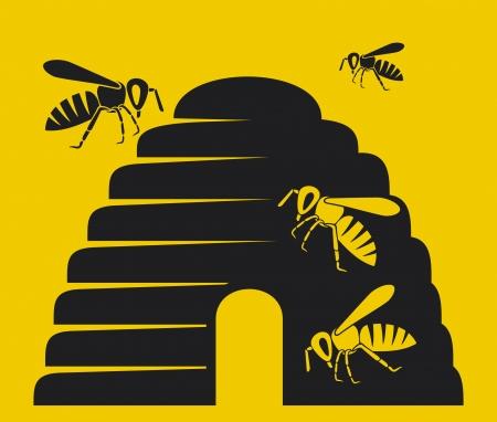 abeja: abejas y la colmena, colmena abeja icono icono, s�mbolo colmena