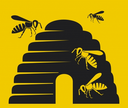 naturalistic: bees and beehive icon  beehive, bee icon, beehive symbol  Illustration