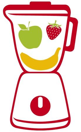 licuadora: licuadora vector icono licuadora, batidora de frutas rebanadas frescas en su interior, cocina batidora, licuadora el jugo de fruta