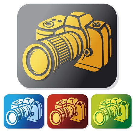 camera icon set  compact digital camera, digital photo camera button  Vector