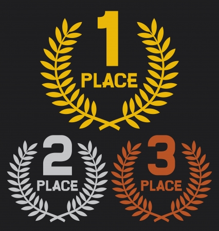 award winning: first place, second place and third place  set of gold, silver and bronze symbols