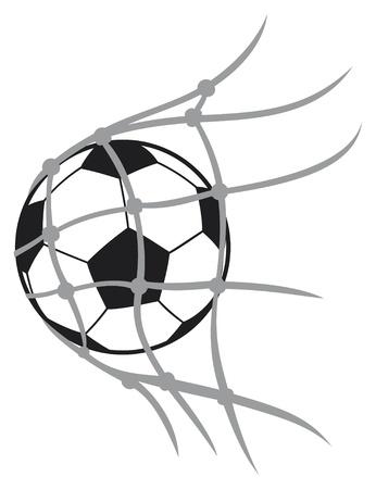 vector voetbal bal voet bal, voetbal bal voor voetbal, voetbal bal in netto, voetbal pictogram, voetbal doel, voetbal doel Vector Illustratie