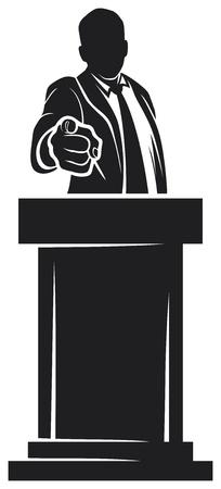 hombre que da voz orador hablando en un podio, el hombre habló en una conferencia