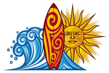 hawaii sunset: surf design  surf board illustration, surfboard symbol, surfboard label, surf sign  Illustration