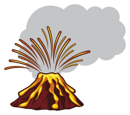 volcanos: volcano mountain top exploding  powerful volcano, volcano vector icon, illustration of a volcano erupting, volcano mountain erupting