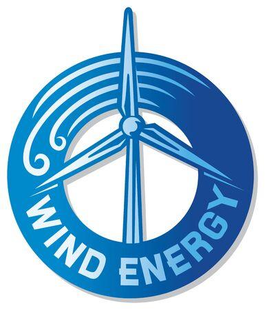 wind turbine: �oliennes �oliennes parcourus, l'�tiquette moulin � vent, turbine �olienne renouvelable d'�nergie propre, signe moulin � vent moderne