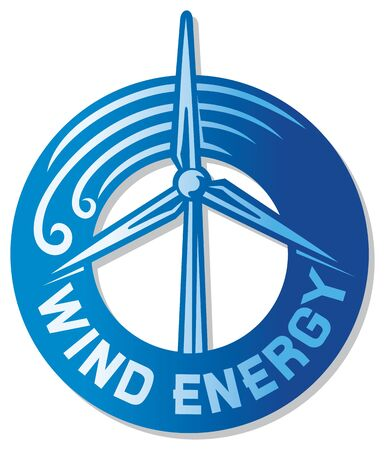 wind turbine  wind driven generators, windmill label, wind turbine renewable clean power generator, modern windmill sign  Stock Vector - 18179888