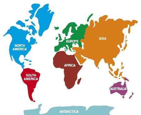 Mappa del mondo con continenti mappa del mondo Illustrazione, mappa del mondo che mostra i 7 continenti Vettoriali