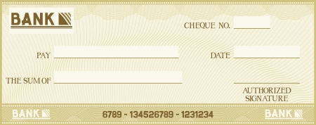 blank check: check with space for your own text (bank cheque, bank cheque blank for your business, blank check, green business check) Illustration