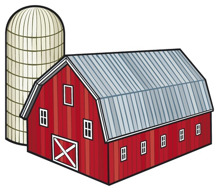 barnyard: red barn and silo  barn and granary  Illustration