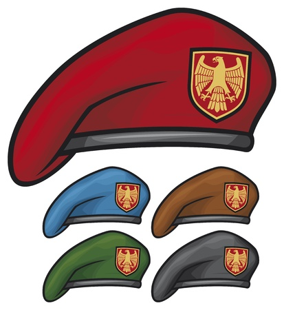 military beret  beret collection  Stock Vector - 18412825