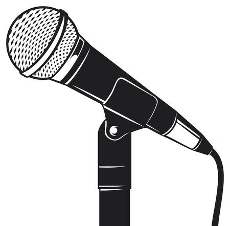 microfono de radio: Micrófono retro con soporte (micrófono en un soporte de micrófono clásico)