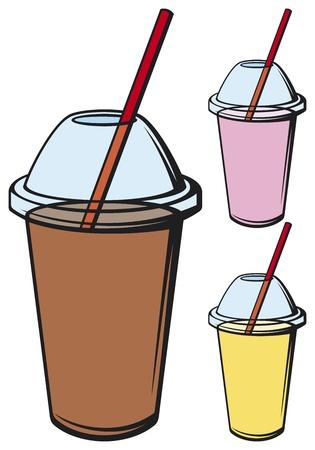 milk shake (different kinds of milk shake, fresh beverage, beverage cup with drinking straw)
