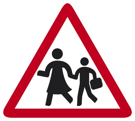traffic pole: school sign (warning school sign, traffic sign school, roadsign with warning for crossing schoolkids) Illustration