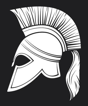 spartano: casco Spartan (illustrazione di un antico elmo greco guerriero, casco Spartan, casco gladiatori trojan o casco)