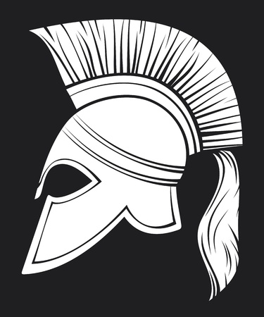 mythology: spartan helmet (illustration of an ancient greek warrior helmet, spartan helmet, trojan helmet or gladiator helmet)