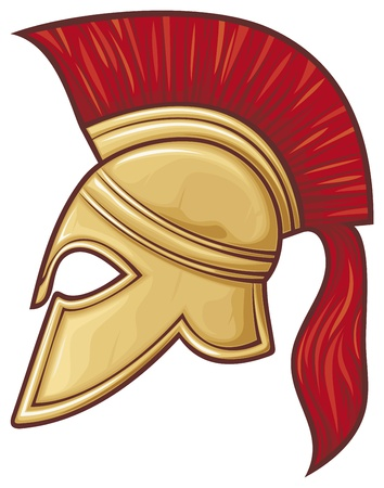 spartan helmet (illustration of an ancient greek warrior helmet, spartan helmet, trojan helmet or gladiator helmet) Vector