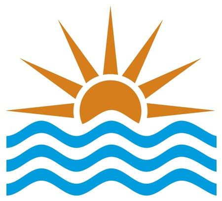 stylized illustration of sunsetsunrise (sunset view, sunrise set, sunset landscape, sunrise icon) Vector