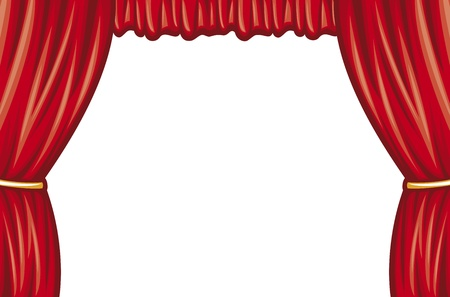 classical theater: red theater curtain (curtain to theater stage) Illustration