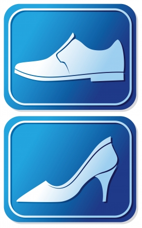 public restroom: toilet sign with shoe (man and women WC sign, toilet symbol)