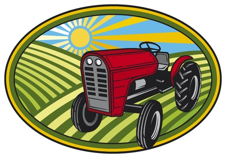 produits céréaliers: paysage rural avec les champs et les tracteurs (label naturel, symbole naturel, l'étiquette des produits naturels, label pour les produits divers, les tracteurs de ferme dans un champ, l'étiquette tracteur)