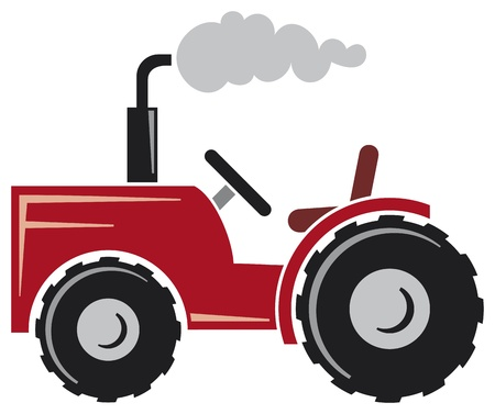 red tractor (agricultural tractor, tractor icon) Векторная Иллюстрация