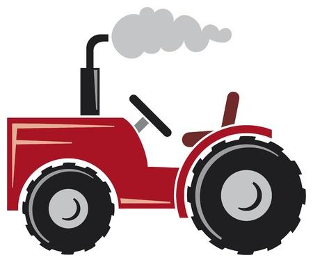 traktor: roter Traktor (Ackerschlepper, Traktor-Symbol)