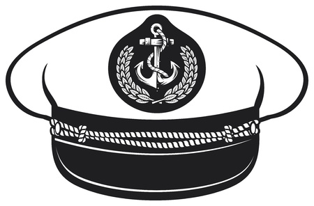 kapitein hoed zeevaart kapitein s hoed, vectorillustratie kapiteins hoed, pet kapitein witte uniform