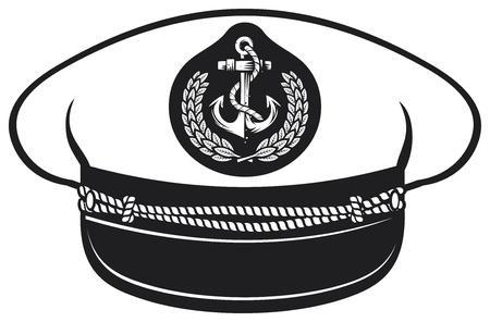 capitan de barco: sombrero sombrero de capit�n n�utico capit�n s, ilustraci�n vectorial capitanes sombrero, gorra capit�n blanco uniforme Vectores