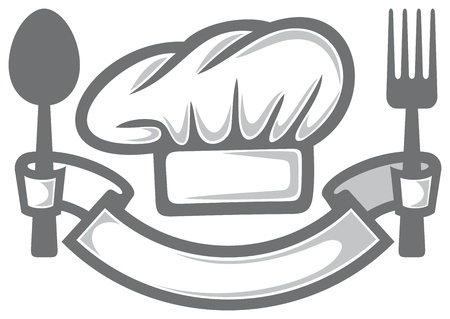 chef hat, fork and spoon  food icon, food symbol, restaurant label, restaurant symbol  Illustration