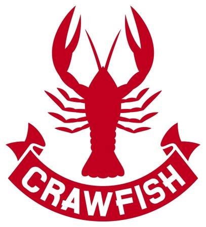 crayfish: crawfish label  crawfish silhouette, crayfish icon, lobster sign, crawfish symbol