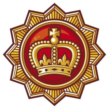 rown: crown badge  crown label, crown medal, crown symbol  Illustration
