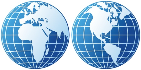 globe icon  globes showing earth with all continents, world globe  Stock Vector - 18661950
