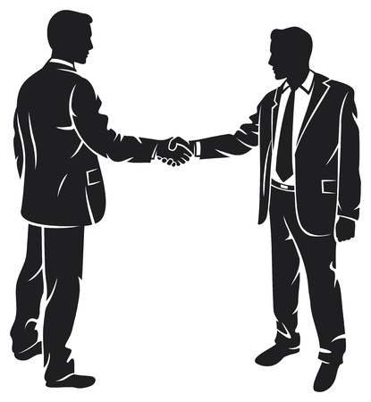 business partnership: businessmen shaking hands  silhouette business contacts, meeting of businessmen, businessman shake