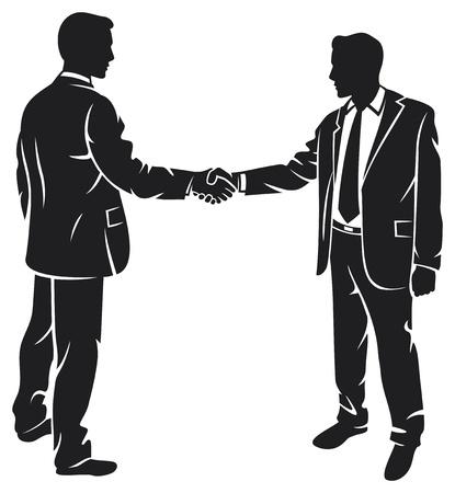 zakenlieden handen schudden silhouet zakelijke contacten, vergadering van zakenlieden, zakenman schudden Vector Illustratie