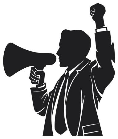 hombre megafono: hombre que habla en el hombre, meg�fono habla a trav�s del meg�fono, hombre con un meg�fono, hombre de negocios est� utilizando un meg�fono